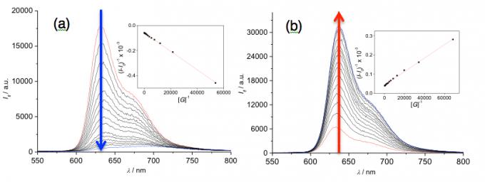 图3 (a)蒽以及(b)苯基萘的荧光滴定图谱